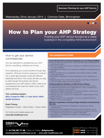 How to Plan your AHP Strategy