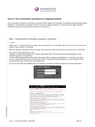 How to: The e-nomination procedure for outgoing - moveonnet