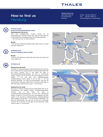 How to find us Hamburg - Thales Group