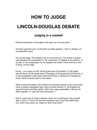 HOW TO JUDGE LINCOLN-DOUGLAS DEBATE - jimmenick.com