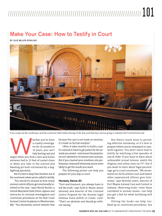 Make Your Case: how to Testify in Court - Animal Sheltering