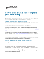 How to use a prepaid card to improve your credit rating - Cashplus