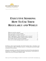EXECUTIVE SESSIONS: HOW TO USE THEM REGULARLY AND