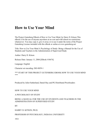 How to Use Your Mind - Assemblies of God, Onopa