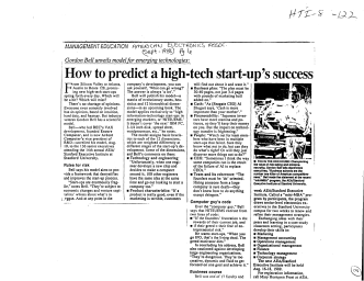 How to predict a high-tech start-ups success - Microsoft Research