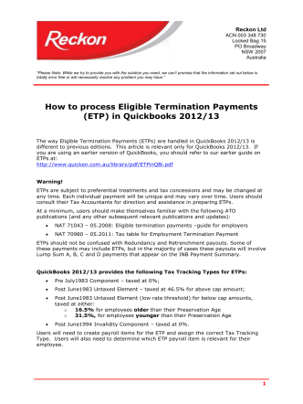How to process Eligible Termination Payments (ETP) in Quickbooks