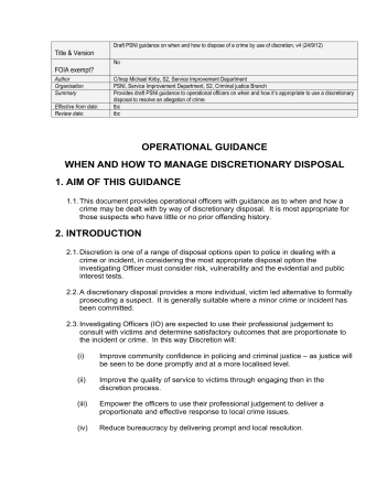 OPERATIONAL GUIDANCE WHEN AND HOW TO MANAGE