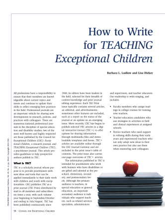 How to Write for TEACHING Exceptional Children - Sage Publications