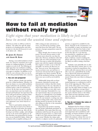 How to fail at mediation without really trying - Plaintiff Magazine