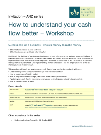 How to understand your cash flow better - Workshop - Pacific
