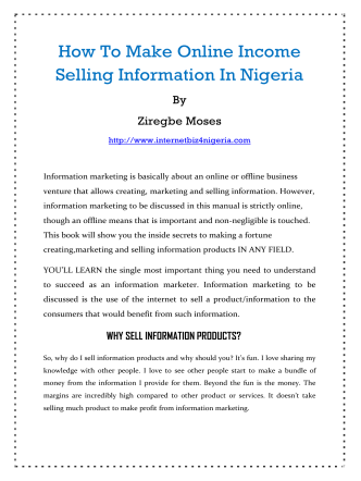How To Make Online Income Selling Information In Nigeria