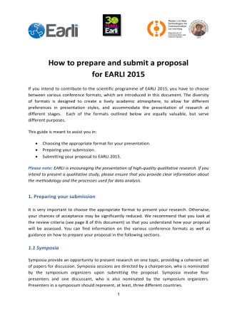 How to prepare and submit a proposal for EARLI 2015