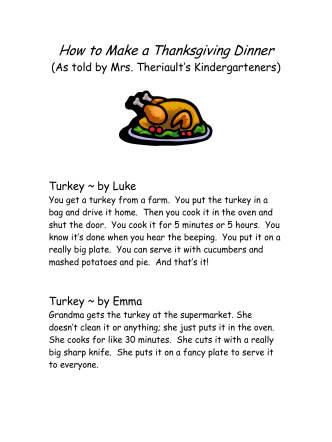 How To Make A Thanksgiving Dinner - Canton Public Schools
