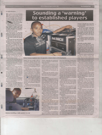 Robin Kamau explains how to operate a music mixer at his backyard