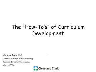 "The ""How Tos"" of Curriculum Development - American College of"