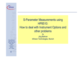 S-Parameter Measurements using HP8510: How to - Jörg Berkner