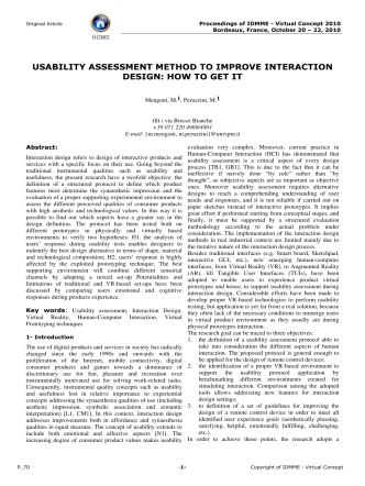 usability assessment method to improve interaction - Extra Materials