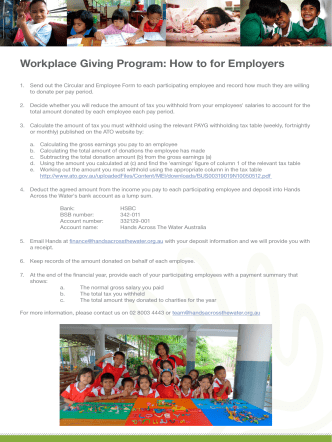Workplace Giving Program: How to for Employers - Hands Across