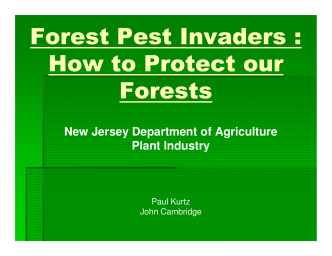 Forest Pest Invaders : How to Protect our Forests - State of New Jersey