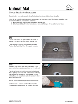 Nuheat mat how to install in Shower manual