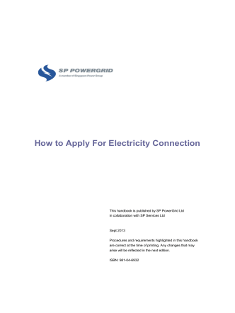 How to Apply For Electricity Connection - Singapore Power