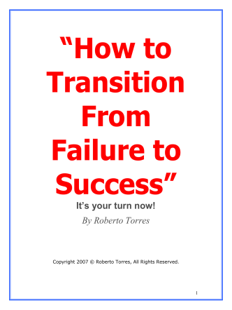 How to Transition From Failure to Success