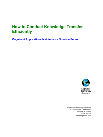 How to Conduct Knowledge Transfer Efficiently - Cognizant