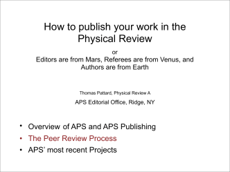 How to publish your work in the Physical Review