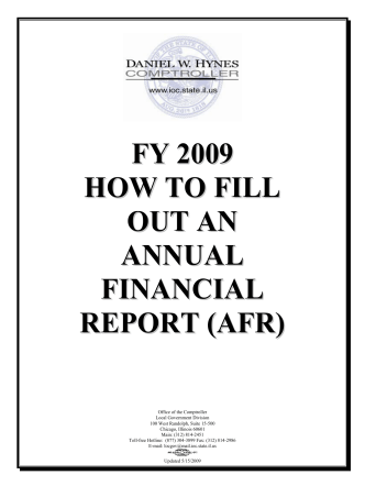 FY 2009 HOW TO FILL OUT AN ANNUAL FINANCIAL REPORT (AFR)
