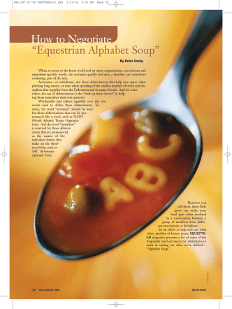 "How to Negotiate ""Equestrian Alphabet Soup"" - The United States"