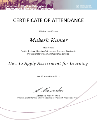 How to Apply Assessment for Learning Certificates 17 May 2012