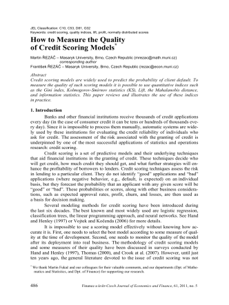 How to Measure the Quality of Credit Scoring Models*