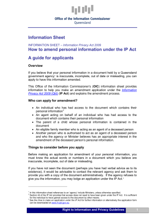 Information Sheet How to amend personal information under the IP