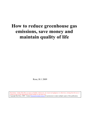 How to reduce greenhouse gas emissions, save money and