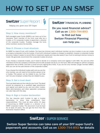 How to set up an sMsF - Switzer Super Report