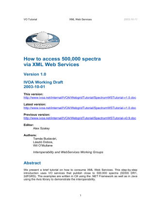 How to access 500,000 spectra via XML Web Services - Virtual