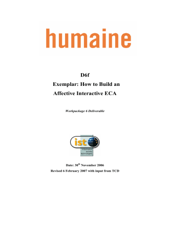 D6f Exemplar: How to Build an Affective Interactive ECA - Emotion