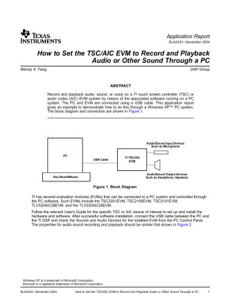 How to Set the TSC/AIC EVM to Record - Texas Instruments