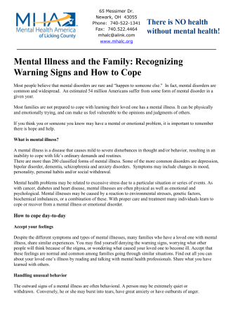 Mental Illness and the Family: Recognizing Warning Signs and How