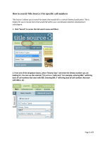 How to search Title Source 3 for specific call numbers
