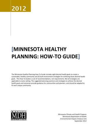 Minnesota Healthy planning: how-to Guide - Minnesota Department
