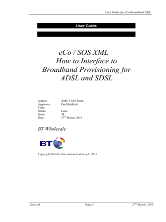 eCo / SOS XML – How to Interface to Broadband - BT Wholesale