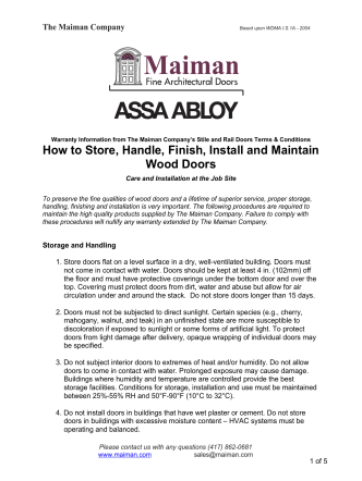 How to Store, Handle, Finish, Install and Maintain Wood - Maiman