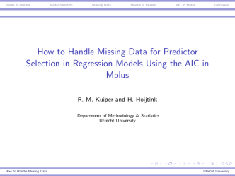 How to Handle Missing Data for Predictor Selection in Regression