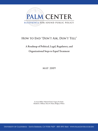 "How to Repeal ""Dont Ask, Dont Tell"" - Palm Center"