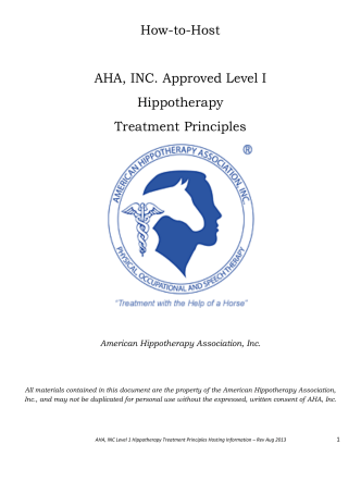 How-to-Host AHA, INC. Approved Level I Hippotherapy Treatment