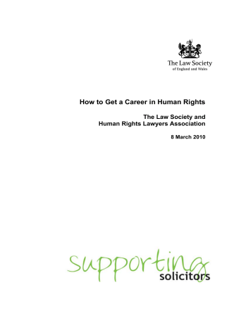 How to Get a Career in Human Rights - The Law Society