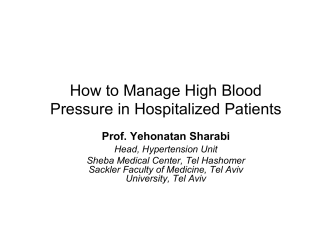 How to Manage High Blood Pressure in Hospitalized Patients - e-Med