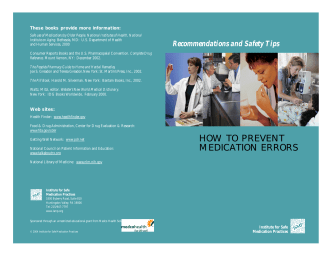 HOW TO PREVENT MEDICATION ERRORS - Institute For Safe