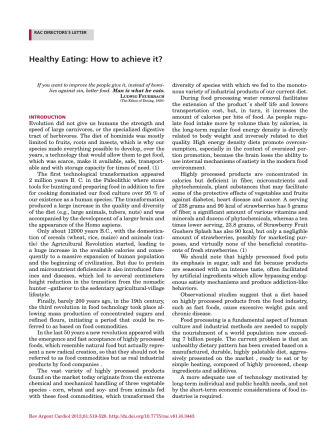 Healthy Eating: How to achieve it? - SciELO